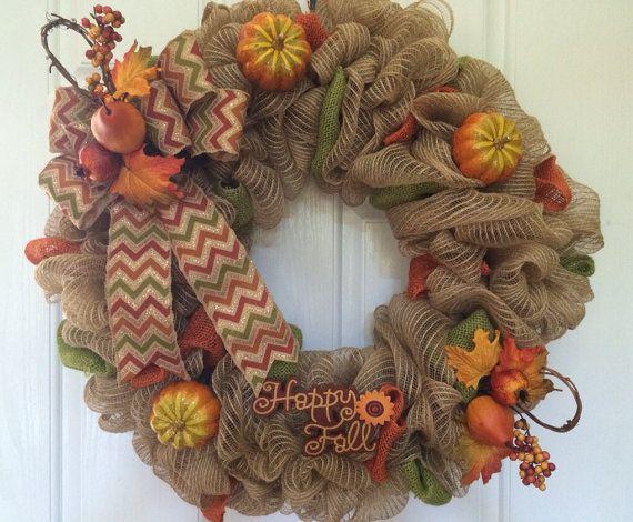 Fall deco mesh wreath, Autumn deco mesh wreath, fall burlap wreath, front door wreath on Etsy, $65.00
