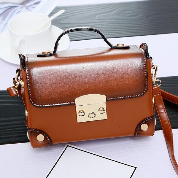 Women Vintage PU Leather Square Mini Crossbody Bag Bright Messenger Bag