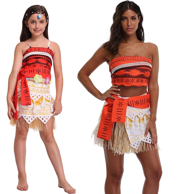 8232cf3e8 Goodsaleok Girl Women Moana Cosplay Costume Polynesia Princess Dress Outfit  for Halloween Party.