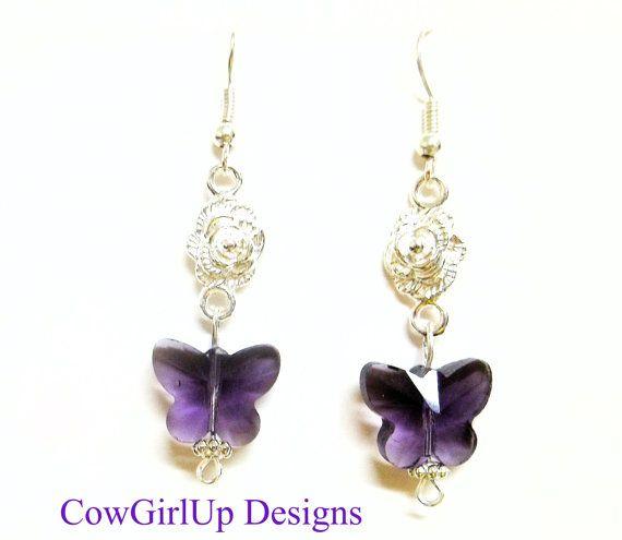 Purple Quartz Crystal Butterfly Earrings by RiverSongsJewelry, $11.00