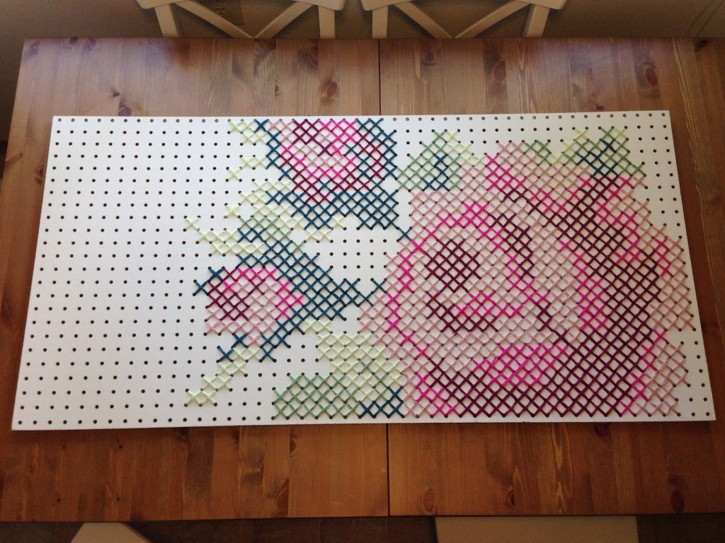 My Giant yarn cross stitch rose on peg board