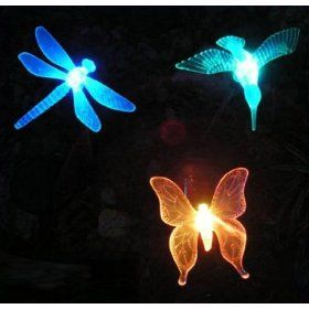 3 Piece Decorative Solar Garden Light Set Hummingbird Butterfly Dragonfly With Images Decorative Solar Lights Decorative Solar Solar Lights Garden