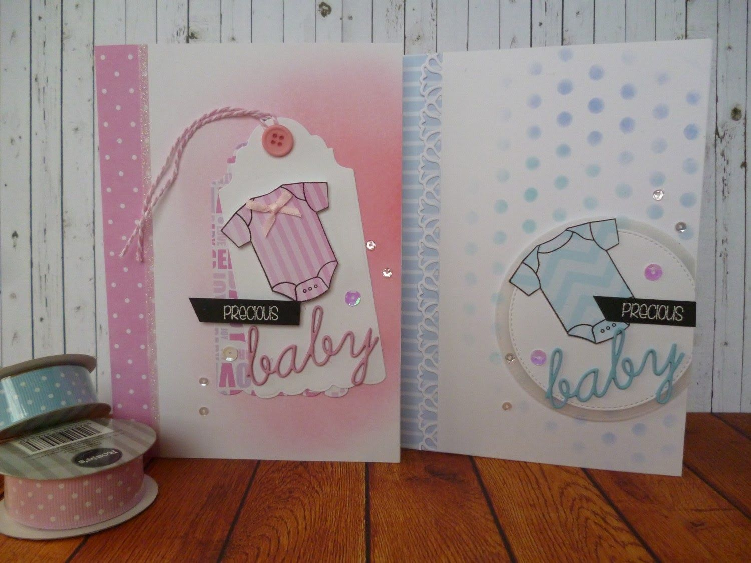 Two cards Onesie stamp