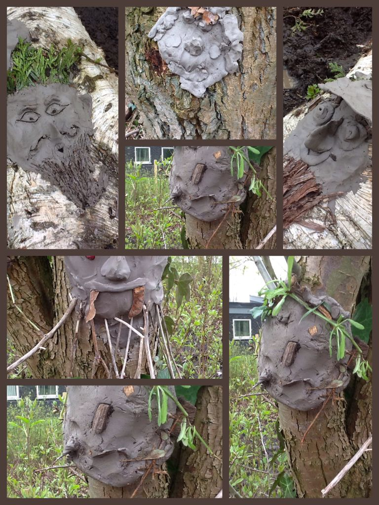Clay Faces On Trees And Stumps Made By My 9 10 Year Olds