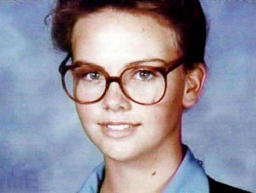 A Young Charlize Theron In Glasses Maybe Not The Most Flattering - 20 funny celebrity yearbook photos