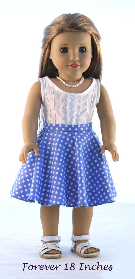 Pintucked Woven Tank Top and Polka Dot Circle Skirt by Forever18Inches on Etsy. Made with the Not! For Knits Circle Skirt pattern, found at http://www.pixiefaire.com/products/not-for-knits-circle-skirt-18-doll-clothes. #pixiefaire #notforknitscircleskirt