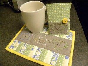 patchwork planet :: mug rug and tea wallet