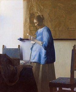 DONNA IN AZZURRO CHE LEGGE UNA LETTERA Autore: Jan Vermeer, Data: 1663, Tecnica: olio su tela, Dimensioni: 46,6 cm × 39,1 cm, Ubicazione: Rijksmuseum, Amsterdam