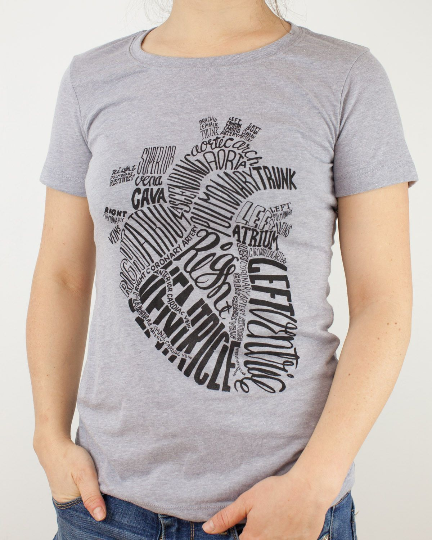 7ee44ba8d01 Anatomical Heart Red Typographic Tee Shirt | CV/EP Nursing....it's ...