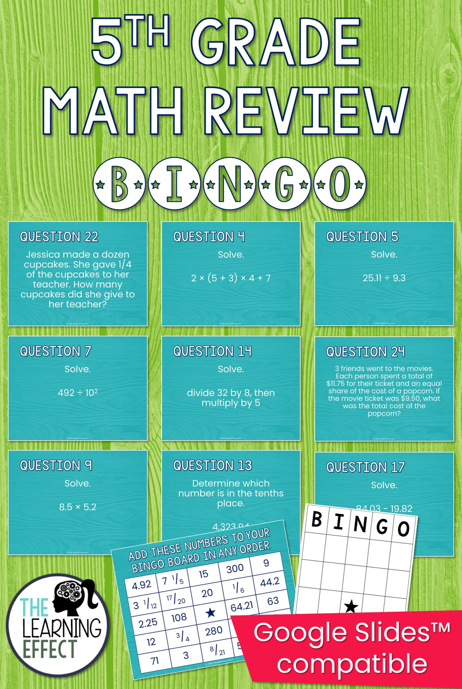 5th Grade Math Review Bingo Game | Test Prep | Assessments & Test ...