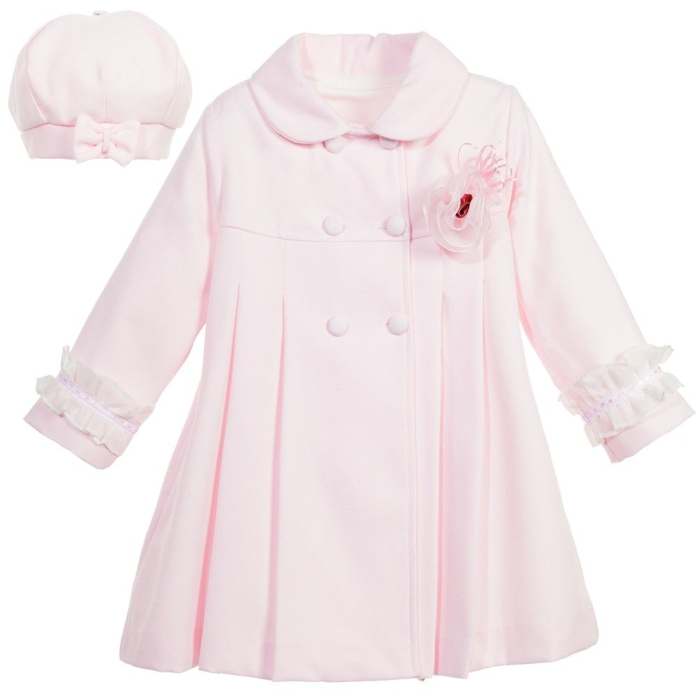 Girls Pink Coat with Frills & Hat
