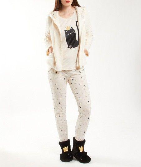 pyjama 3 pi ces veste toucher polaire oreilles de chat sur la capuche catsy beige noir. Black Bedroom Furniture Sets. Home Design Ideas