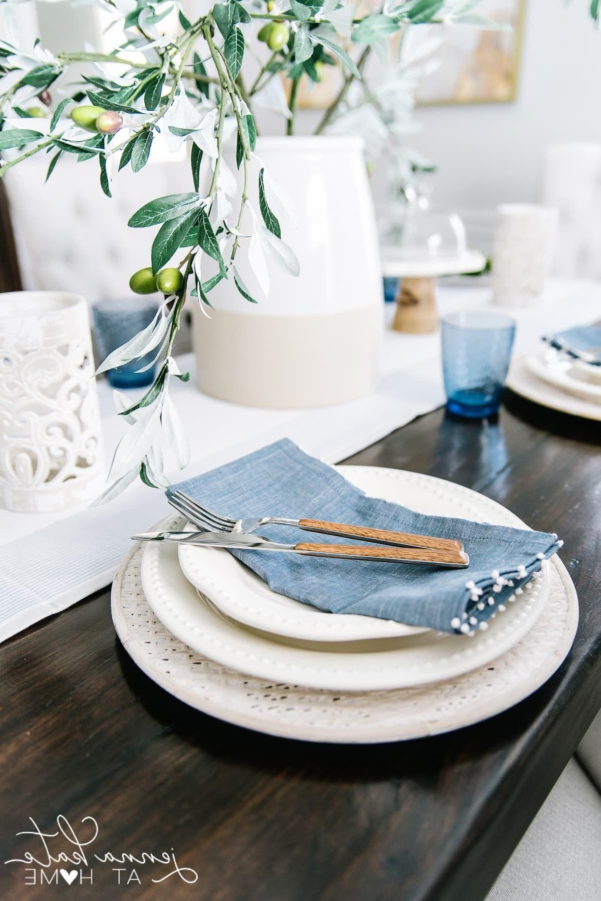 Home Decor Habitacion Pretty every day tablescape for spring or summer with shades of blue and white. #tablescape #tablesetting #summerdecor #jennakateathome.Home Decor Habitacion  Pretty every day tablescape for spring or summer with shades of blue and white. #tablescape #tablesetting #summerdecor #jennakateathome