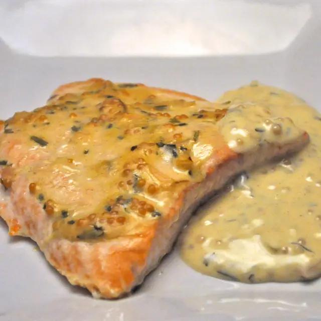 Salmon With Mustard Sauce Recipe Yummly Recipe Baked Salmon Baked Salmon Recipes Trout Recipes