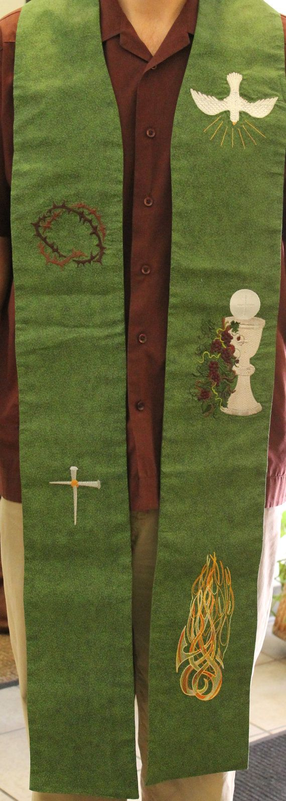Clergy stole priest stole pastor stole vestment by faiththreads this stole originally created as a custom order for a repeat customer is wonderful for ordinary time this clergy stole includes symbols of our biocorpaavc