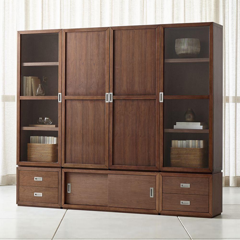 Aspect walnut 7 piece wood and glass door storage unit