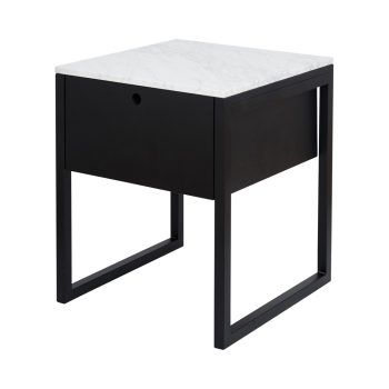 Modern Marble Bedside Table And Nightstand Black Ash Wood