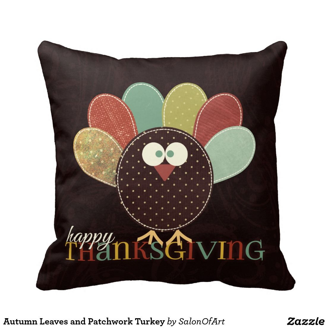 Autumn Leaves and Patchwork Turkey Throw Pillow
