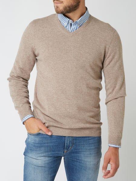 f1eac16685358c Christian Berg Men – Pullover aus reinem Kaschmir – Taupe meliert ...