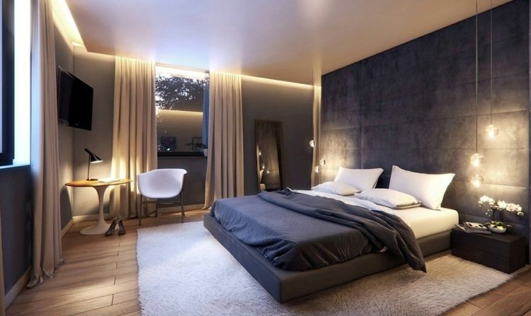 schlafzimmer mit wandpaneelen aus stoff abgeh ngter decke. Black Bedroom Furniture Sets. Home Design Ideas