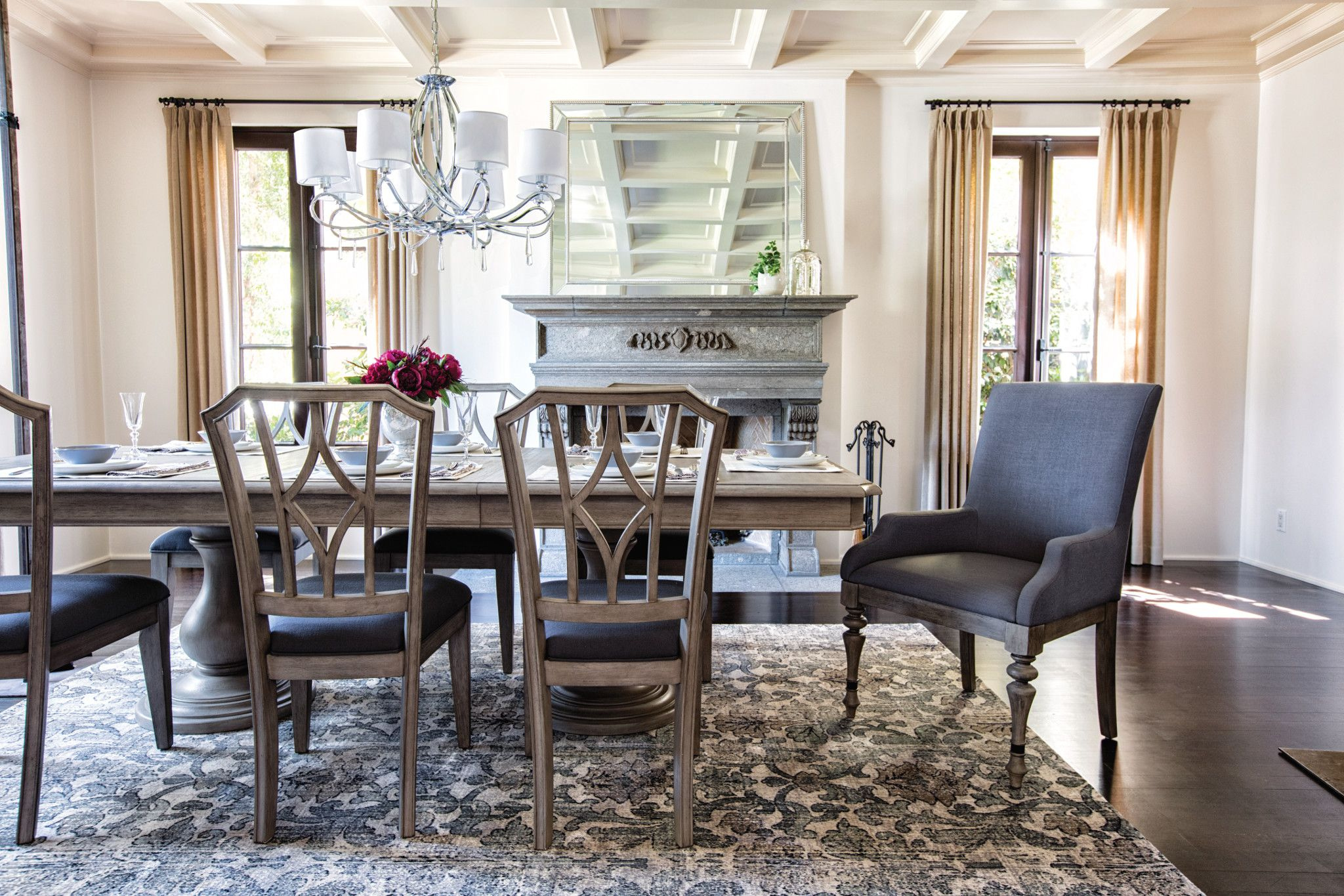 Featuring An Array Of Elegant Designs For Dining Our Caira Collection Will Help You Create A Tasteful Graceful Pedestal Dining Table Dining Table Side Chairs