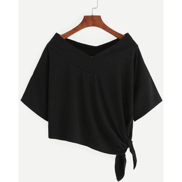 33353944311d02 SheIn(sheinside) Black Side Tie Drop Shoulder Asymmetric T-shirt ( 7.99)