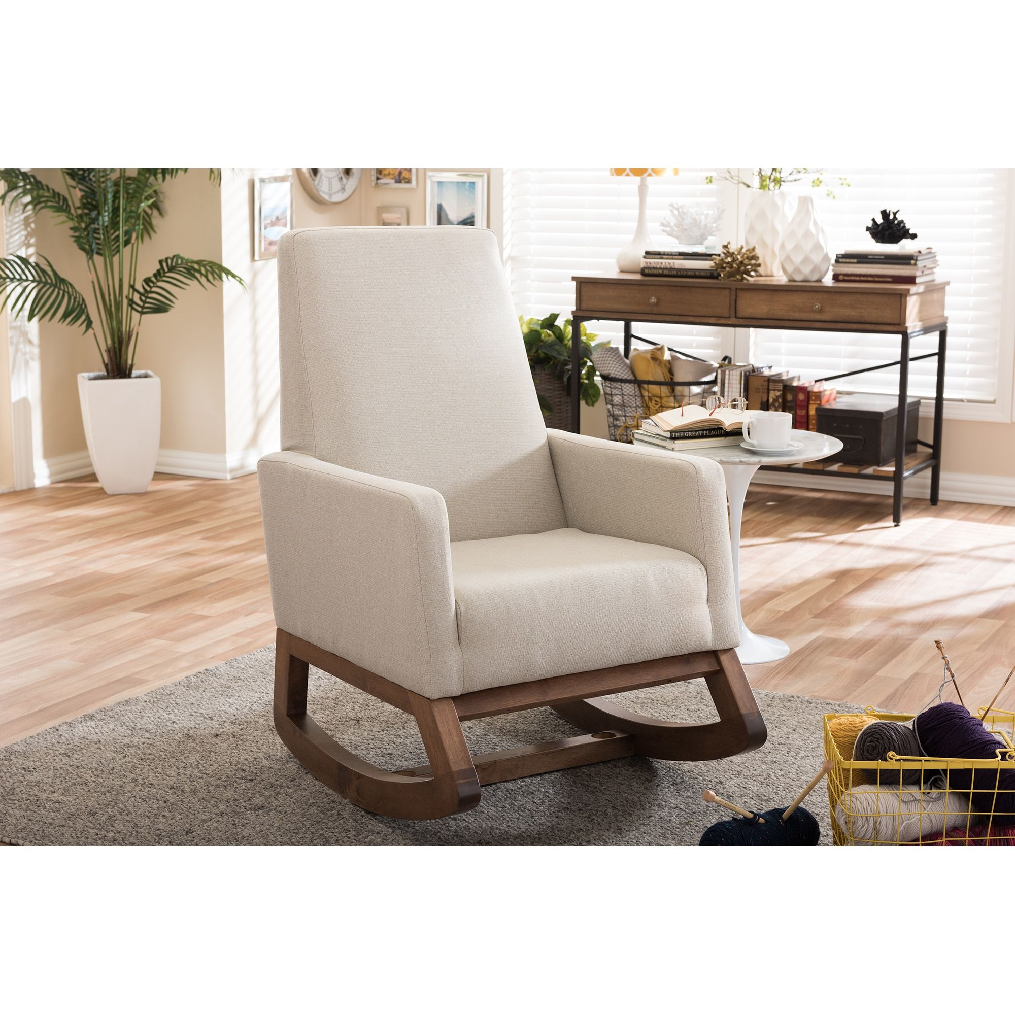Upholstered rocking chairs baxton studio yashiya midcentury retro modern light beige fabric