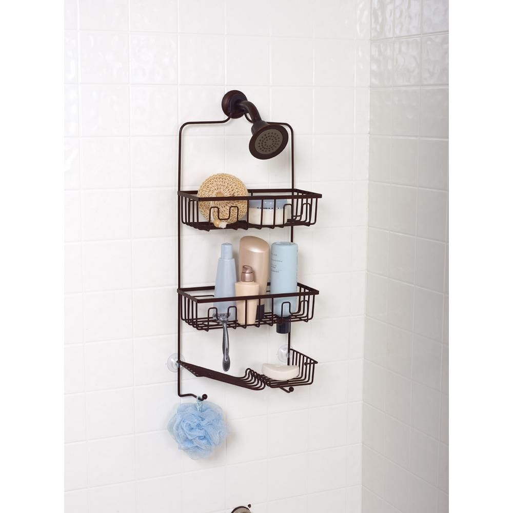 Zenna Home Family Size Shower Caddy In Bronze 7781hb The Home Depot In 2021 Shower Caddy Diy Bathroom Storage Bathroom Space Saver