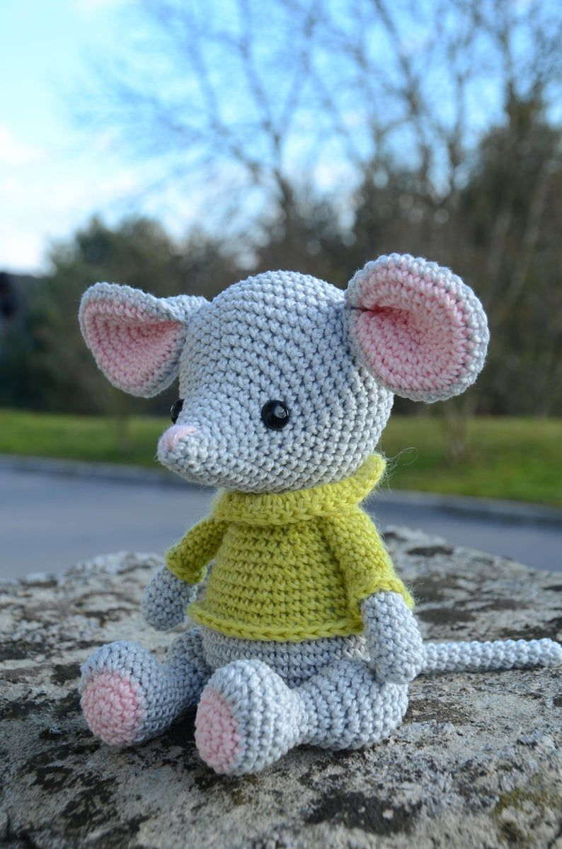 Albert the mouse, handmade amigurumi mouse, croche