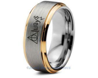 8mmTUNGSTEN CARBIDE GOLD PLATED WITH GREY CARBON FIBER WEDDING//ANNIV BAND 5-15