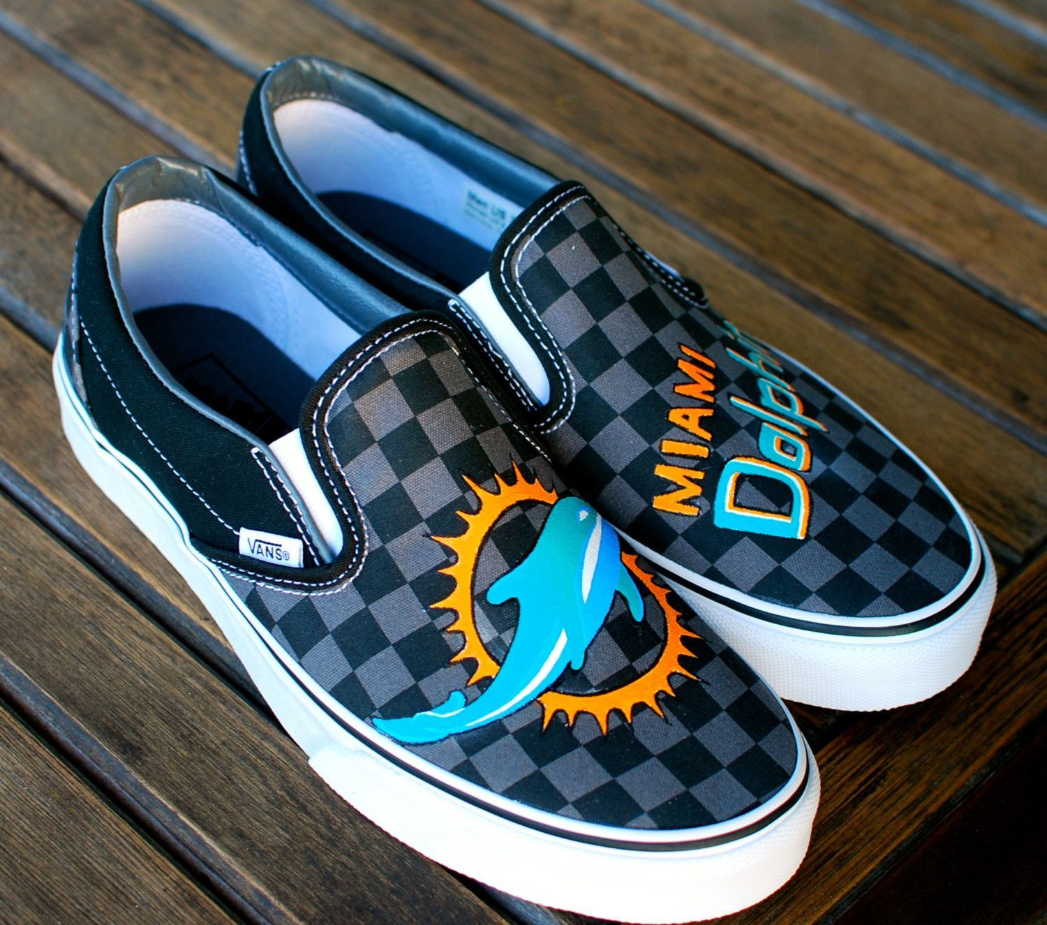 3c169993fbc Hand Painted Miami Dolphins Black Pewter Checkerboard Slip-On Vans Classics