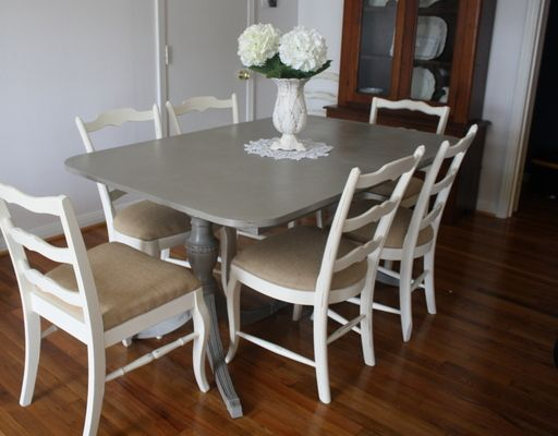 Paint dining table table annie sloan chalk paint in french linen chairs annie sloan - Paint dining room table ...