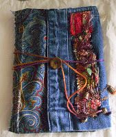 #Denim #book cover - made from pair of #jeans.  This lady's blog is wonderful.  She is so creative.