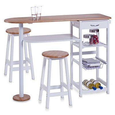 Zeller, Bancone stile bar per cucina, con 2 sgabelli: tavolo 118 x ...