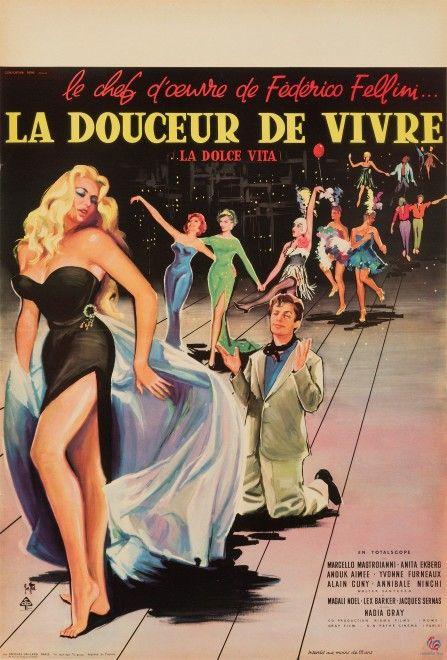 La Dolce Vita Original Vintage French Film Poster by Yves Thos, 1960