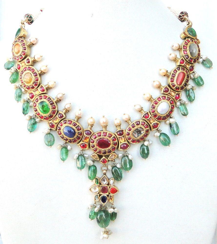 Rare vintage antique carat gold navratan necklace pendant