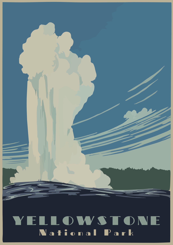 Yellowstone National Park Vintage Travel Poster Us Travel Wpa Vintage Travel Poster From 1930s 24 Vintage Travel Posters National Park Posters Travel Posters