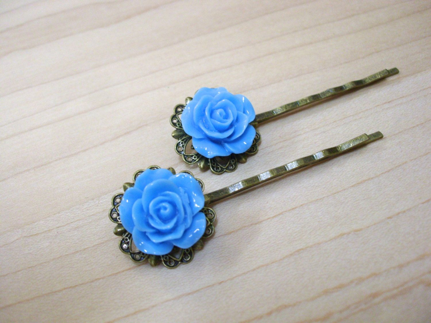 Blue roses flower bobby pins rose flower bobby pins rose bobby blue roses flower bobby pins rose flower bobby pins rose bobby pins vintage izmirmasajfo Image collections