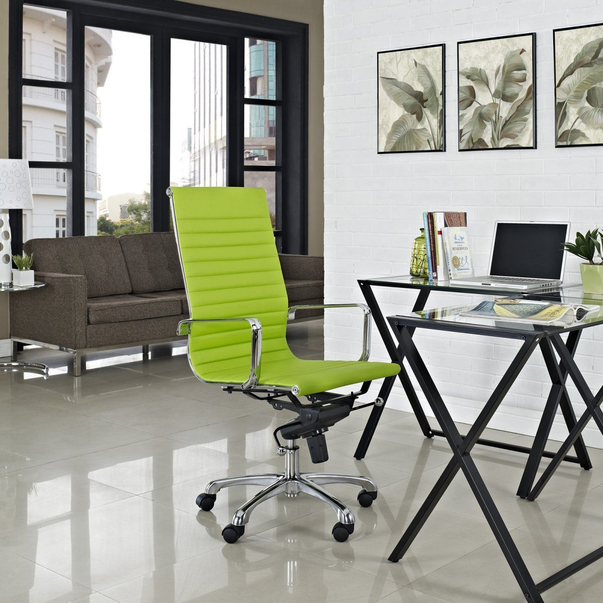 minimalist office chair. Modern Minimalist Office Design With Stylish Green Swivel Chair Over Small Desk: High Back