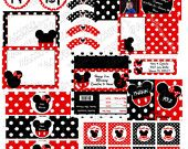 Minnie Mouse inspired party red with customization .... printable party supplies no invite by 2fungraphics. $12.00, via Etsy.
