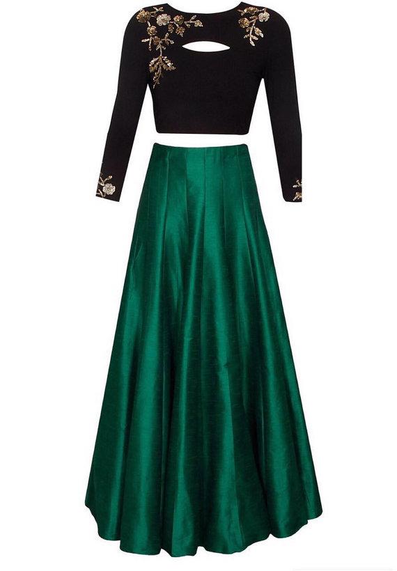 687c24a4df8570 Black and dark green embroidered skirt top by IVbyDivyaSnigdha