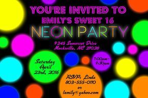 Neon Party Invitation Glow Party Invitation Glow in the Dark