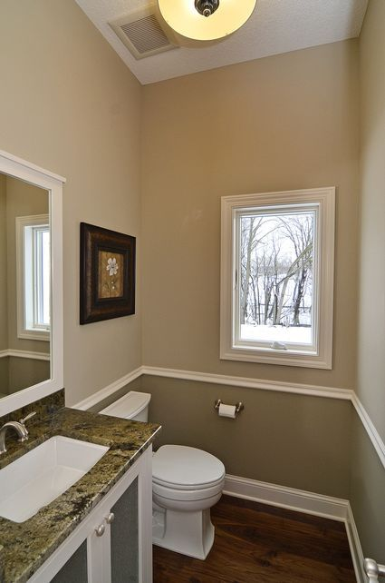 12 Bath on Main floor  Dream Home in 2019  Guest room paint Bathroom colors Two tone walls