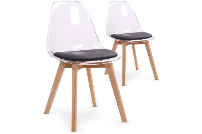 Lot De 2 Chaises Scandinaves En Plexi Transparent Et Coussin Noir Sully Chaise Scandinave Chaise Plastique Chaise