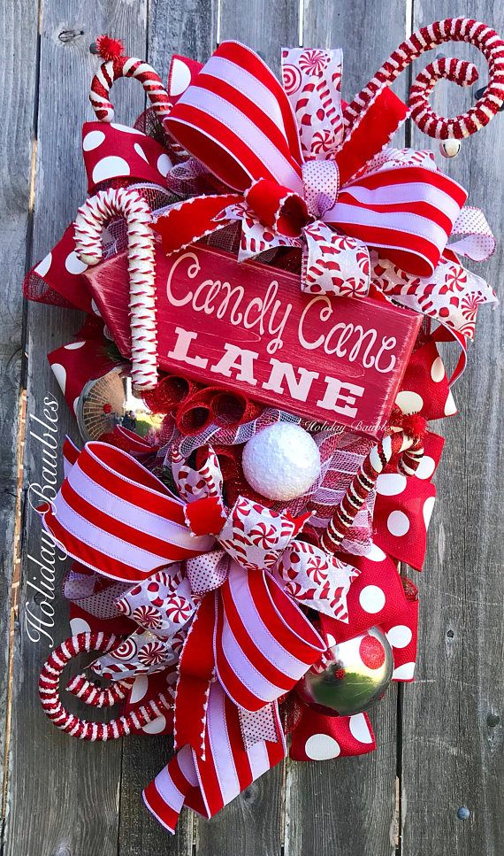 """Large Candy Cane Decorations Whimsical Candy Cane Swag 38"""" Length Designed On A Evergreen"""