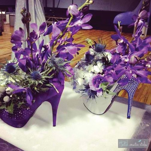 High heel floral centerpieces for a priscilla queen of the for Flower arrangements for parties