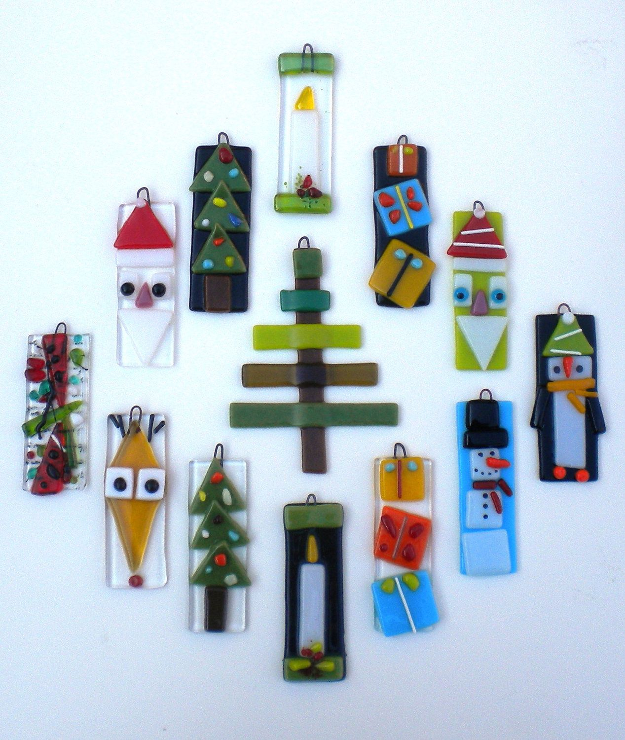 Green Santa Claus fused glass Christmas Ornament by JJ ...