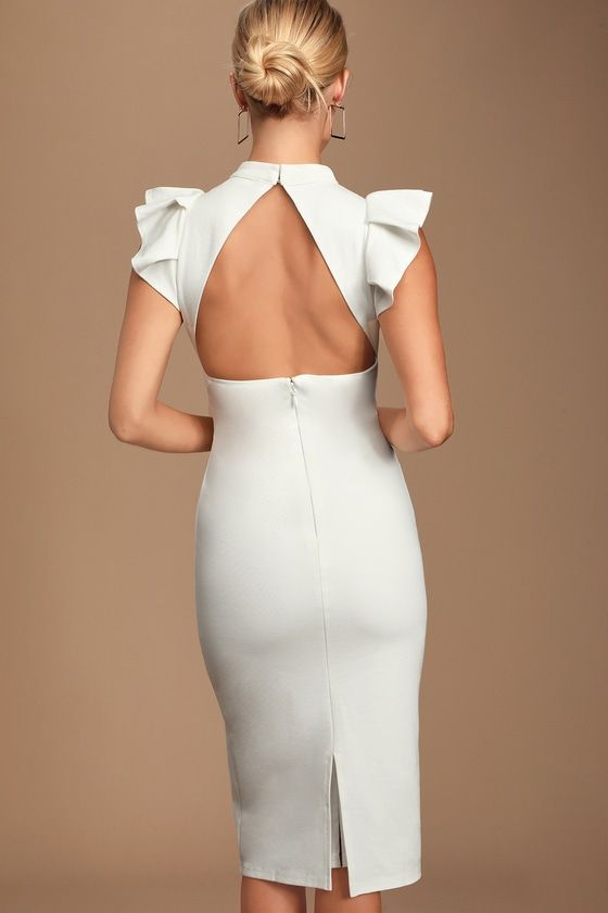 Lulus | Stylish Splendor White Backless Ruffle Bodycon Midi Dress | Size Large | 100% Polyester #shortbacklessdress