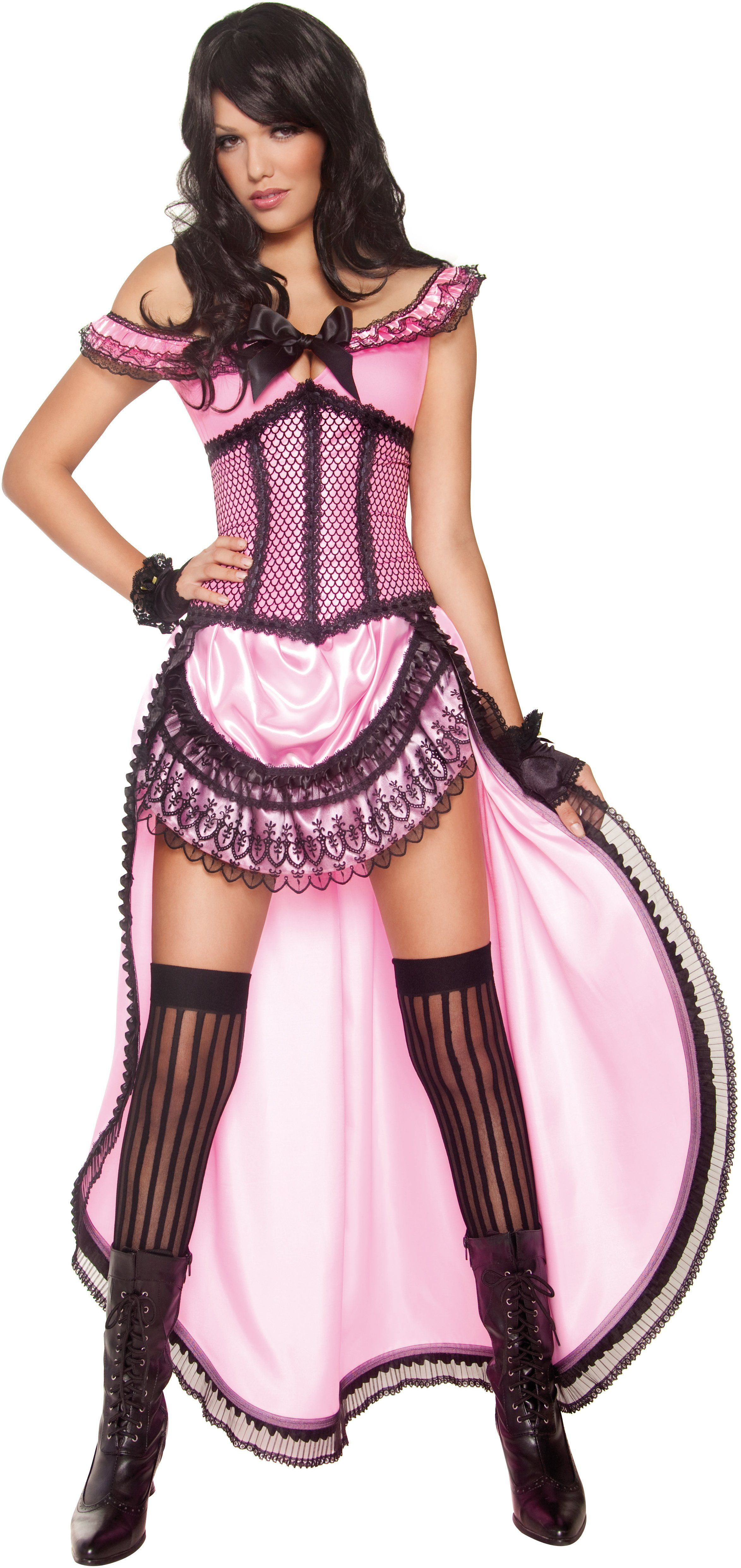 29ec505e6 Brothel Babe Costume, Pink, with Dress and Corset. Ideal for either a  Western theme or for a burlesque fancy dress theme or party!