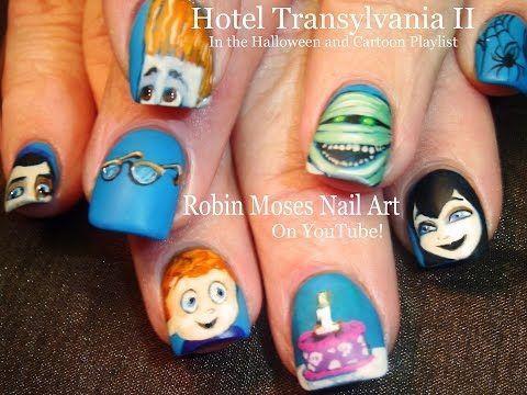 Hotel Transylvania 2 Halloween Nail Art Design Tutorial Youtube